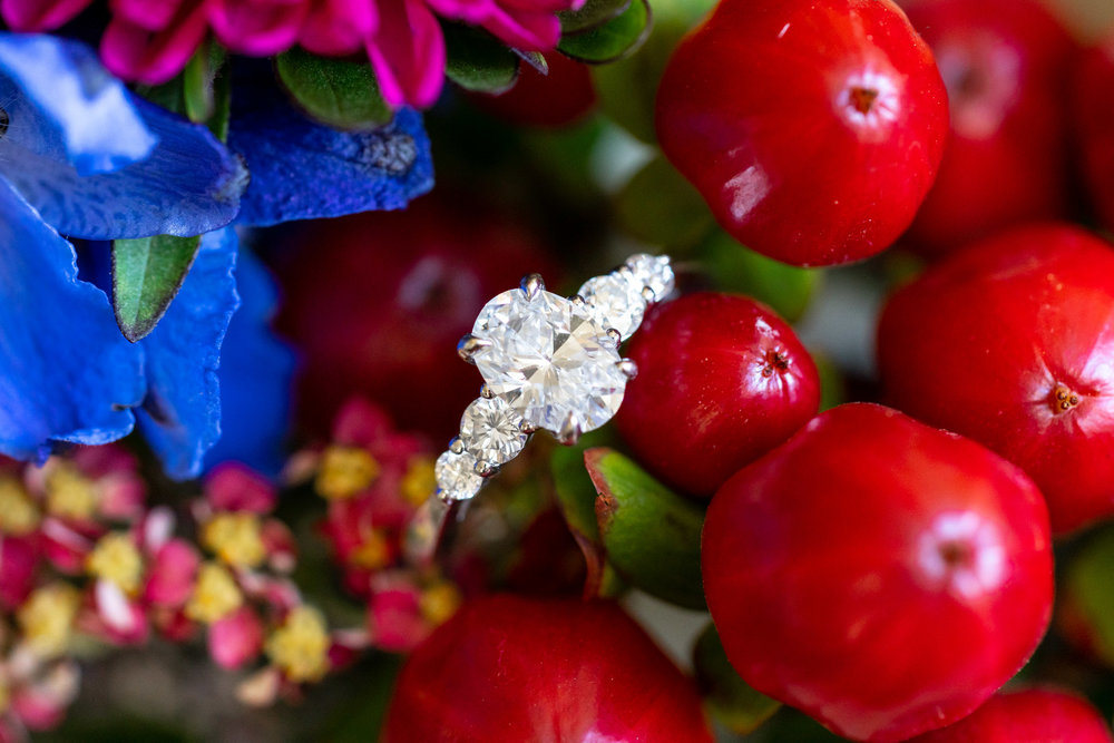 Boone and Son's oval three stone engagement ring in winter bouquet by Blossom and Basket Boutique
