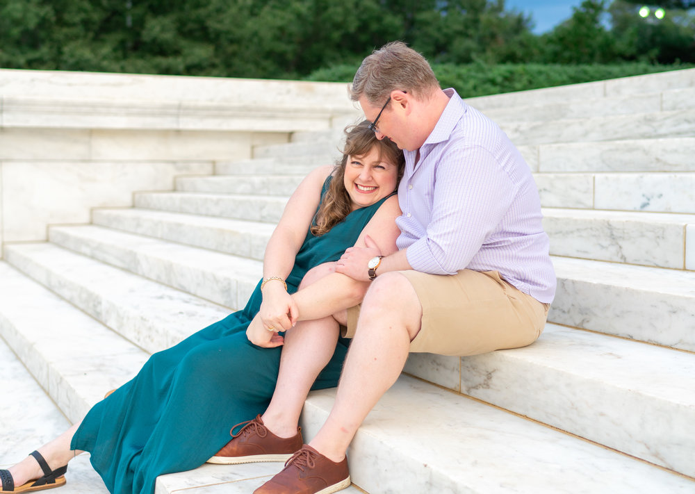 Thomas Jefferson engagement session on the stairs in DC