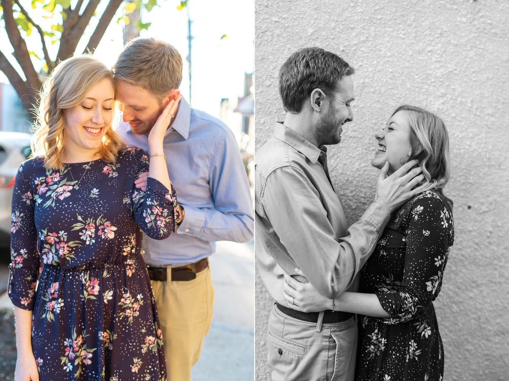 Collage of bride and groom engagement photos in Baltimore Maryland