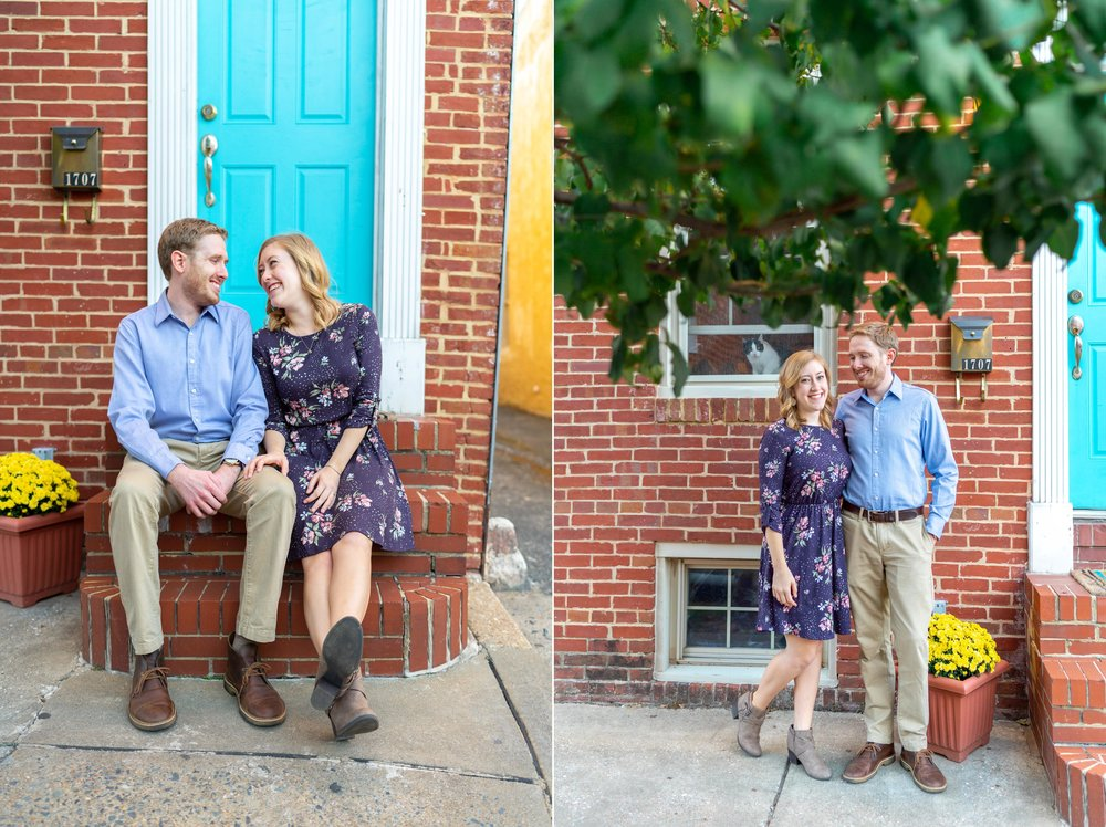 Engagement photos on a front stoop at Federal Hill Park home in Baltimore Maryland