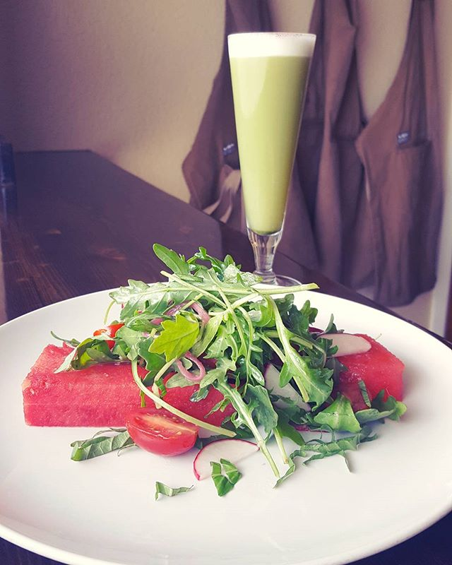 Bring some serious summer vibes to your next meal with our new Watermelon Salad!  Fresh arugula, radish, pickled onion, grape tomatoes, watermelon and ginger-yuzu vinaigrette pair well with the Matcha-cha.  #cocktailpairing #beattheheat