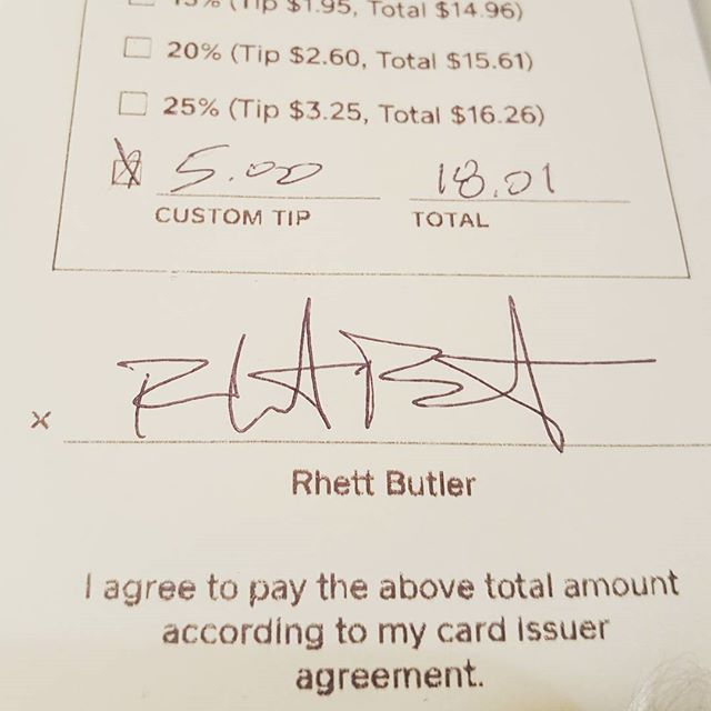 No freakin way.  Rhett Butler was in last night and no one noticed!  Oh well, at least we got his autograph. #therealrhettbutler #franklymydearidontgiveadamn