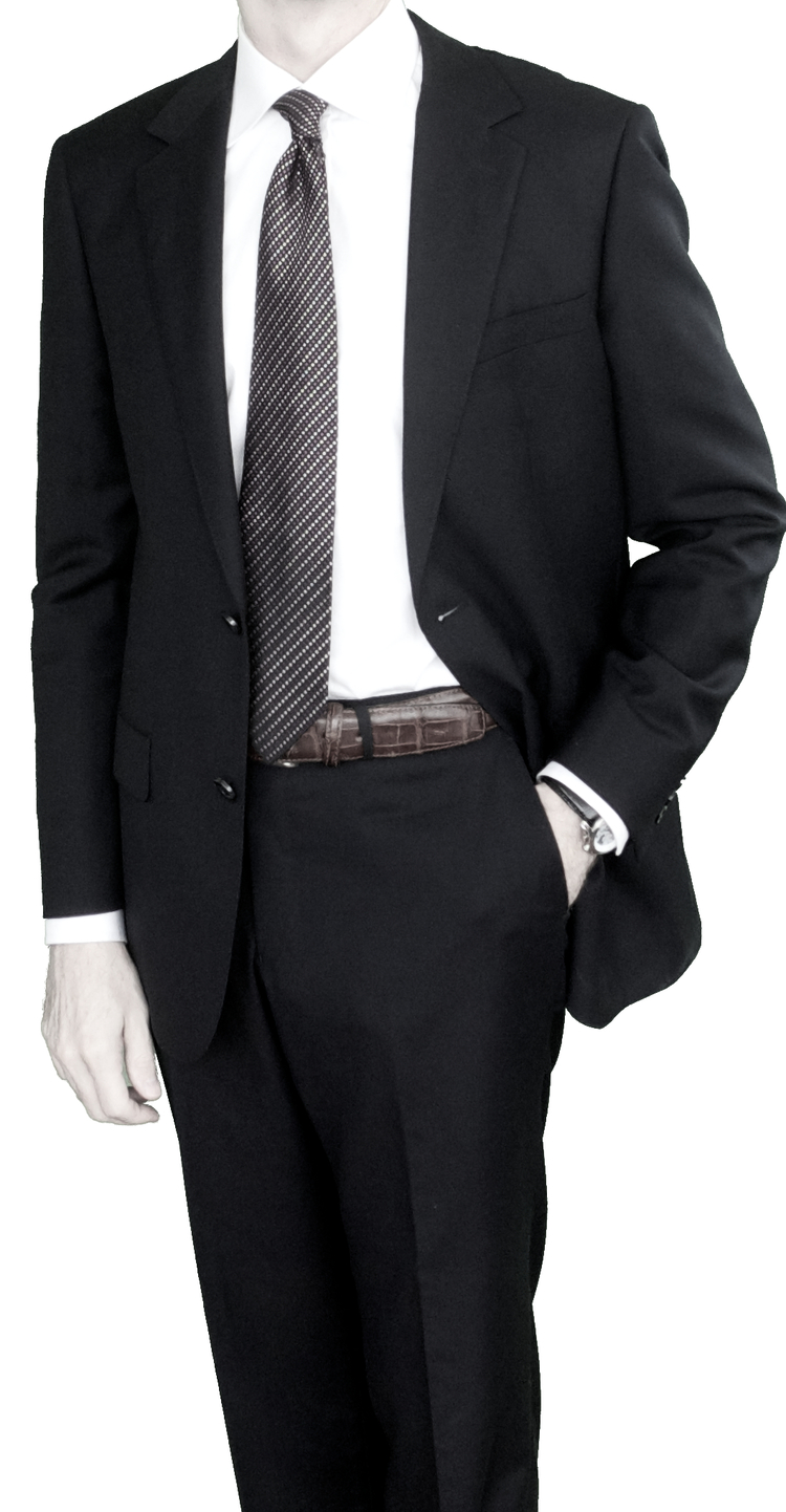Super 150s Wool With Cashmere The Solid Black Suit