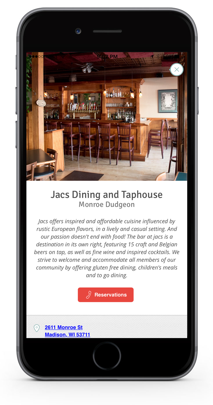 A view of a restaurant detail page in the hankr app