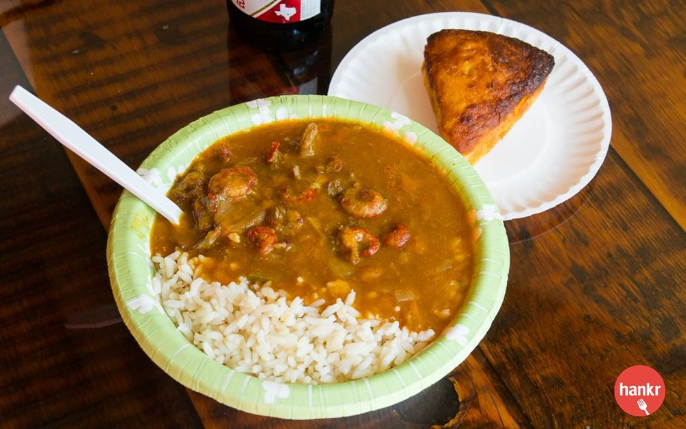 A Cajun specialty that owner, Shon, became familiar with from his days growing up in East Texas. Served over white rice and with a slice of chuckwagon cornbread.