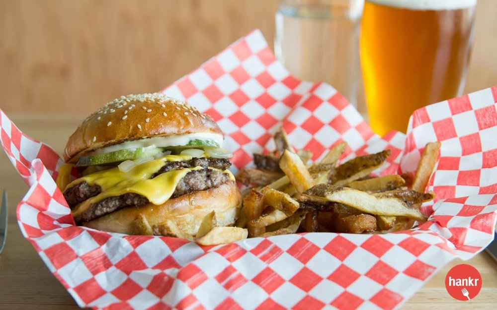 Two quarter-pound all-beef patties, grilled onions, pickles, dijonnaise, American cheese and fries.