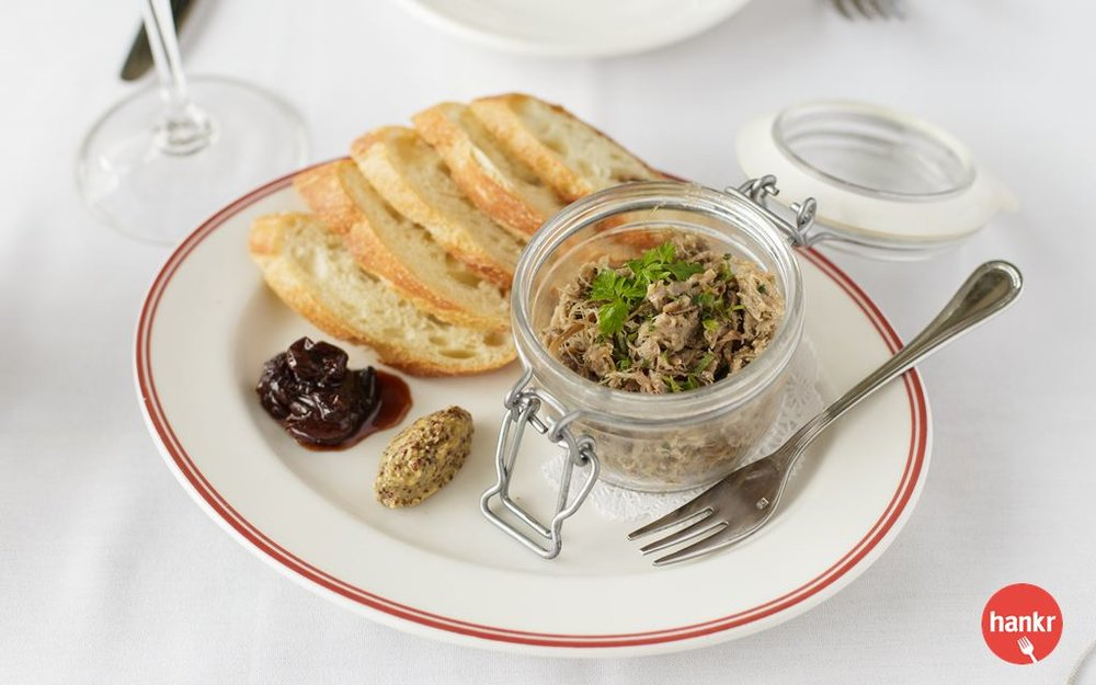 Daily selection of potted meat with country toast