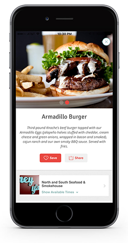 A view of a specific menu item page in the hankr app