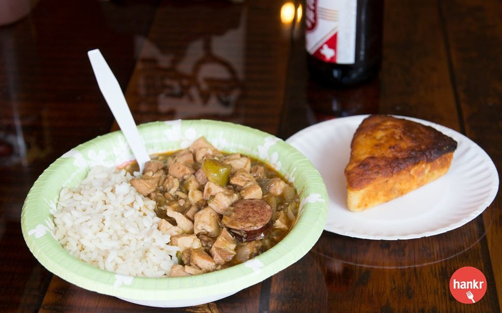 Homemade through and through. Double S BBQ's signature Texas pork sausage, chicken, and the holy trinity of onion, bell pepper and okra. Served over white rice and with a slice of our chuckwagon cornbread.