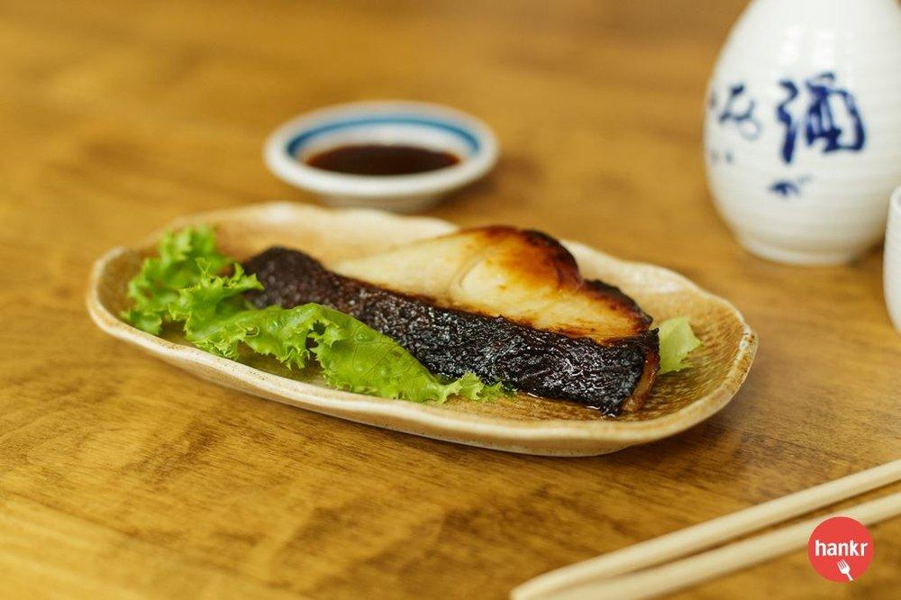 Misozuke.Broiled marinated black Cod. Izumi's signature dish.