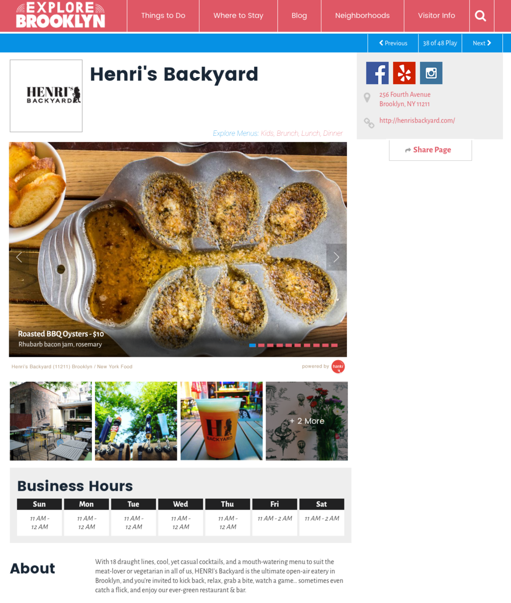 With help from hankr, your website can showcase detailed information about the best local food being served right now, supported by beautiful, true-to-life photos.