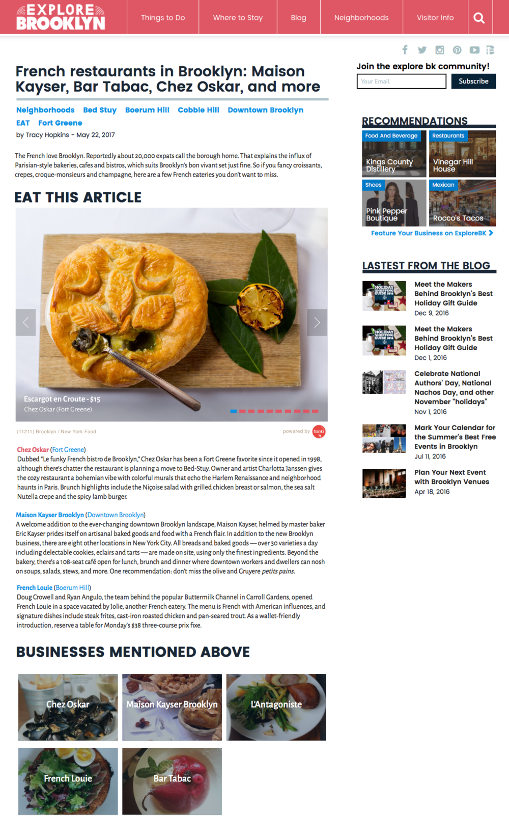 With hankr, you'll have detailed food content to pair with every inspiring article - without all the work.