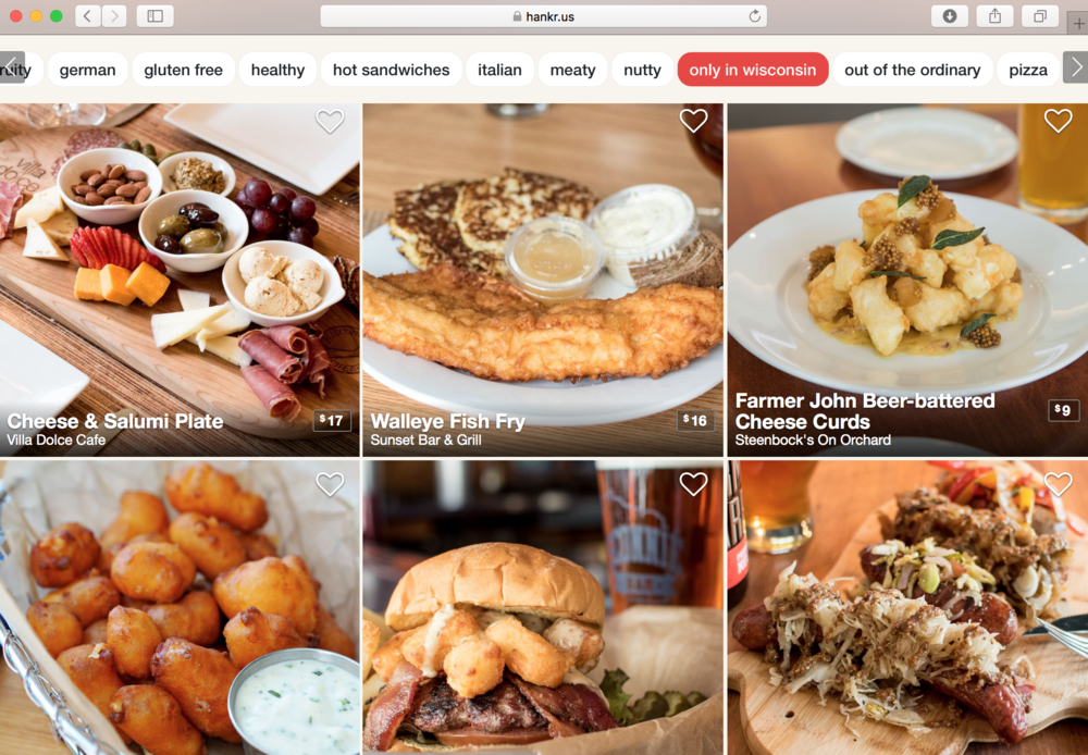 The hankr app and responsive website (pictured here) have been used over 200,000 times by people looking for the perfect meal at local restaurants.