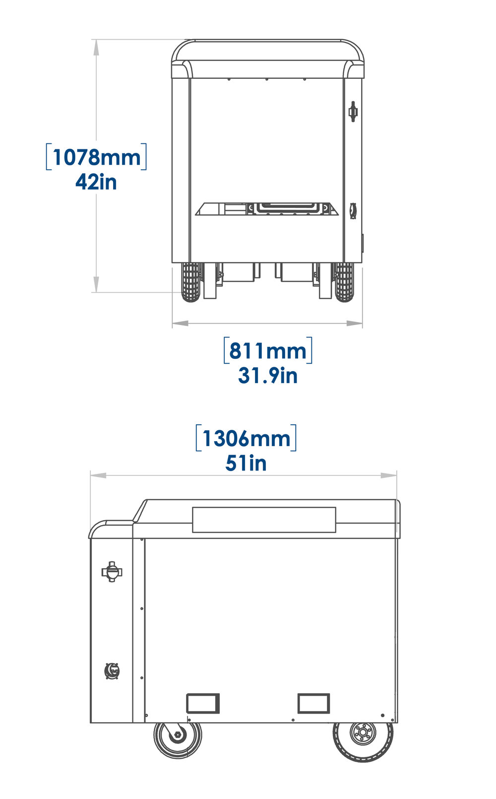 Mobi Charger DCF drawing with measurements