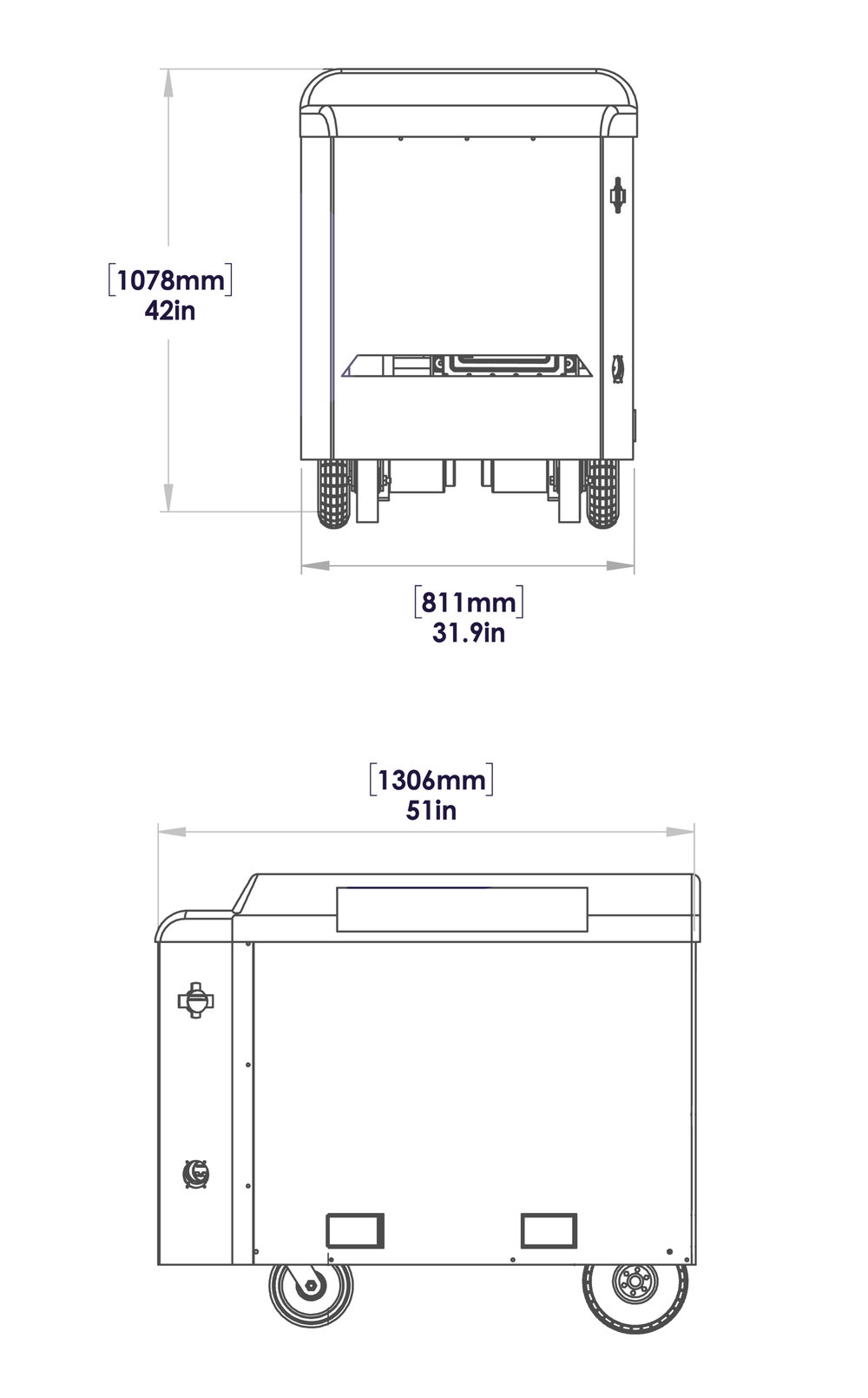Mobi Gen Flex drawing with measurements
