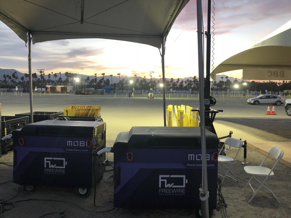 Our Mobi Gen Flex units powering the light towers during the pre-event setup at Coachella 2018.