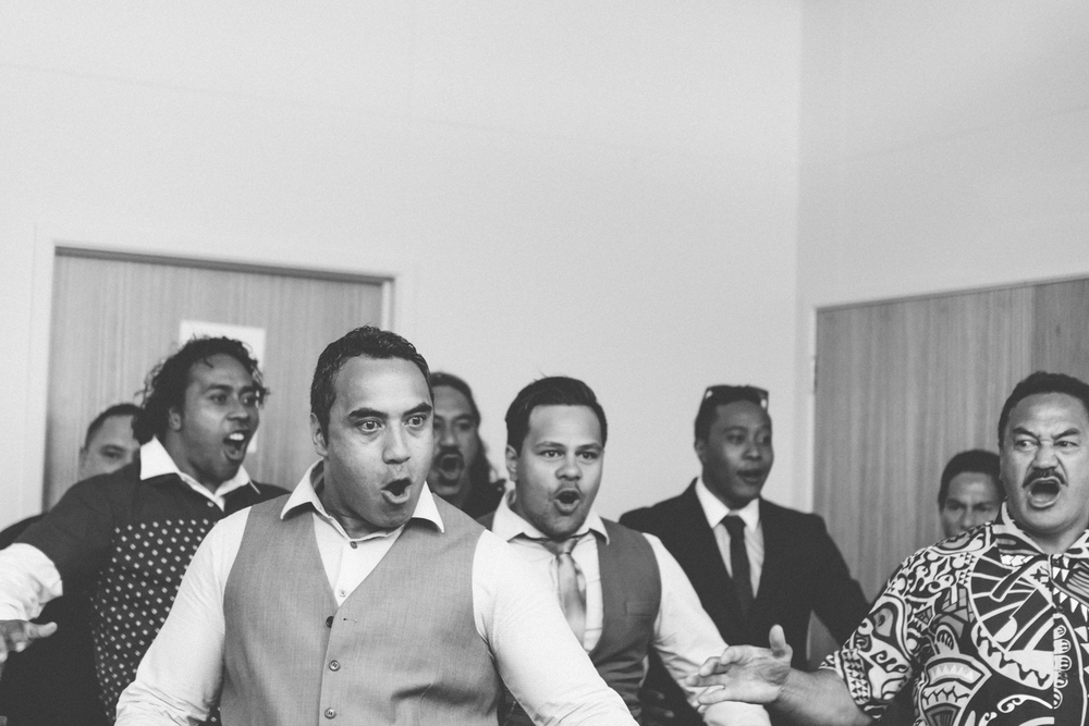 Wedding haka at reception