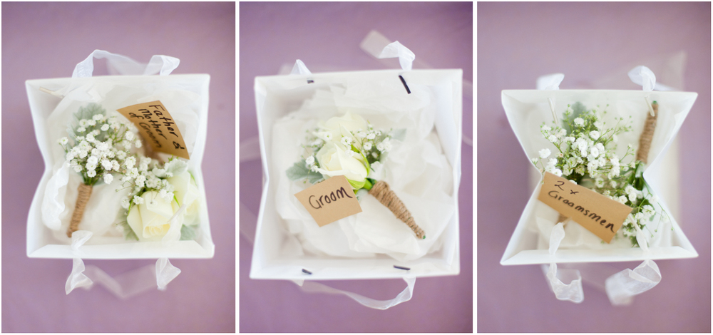 Buttonhole baby's breath wedding flowers