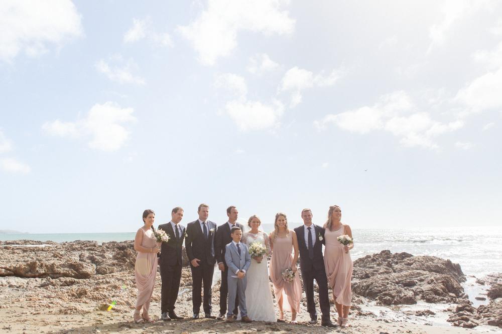 Bridal party photos at Plimmerton beach