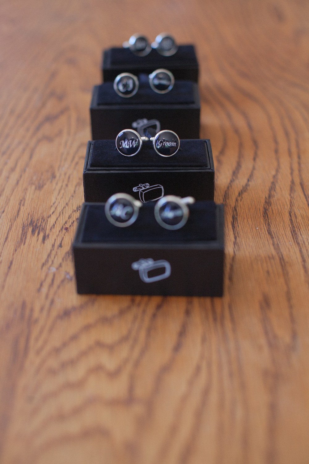 Cuff links for Groom and Groomsmen's suits