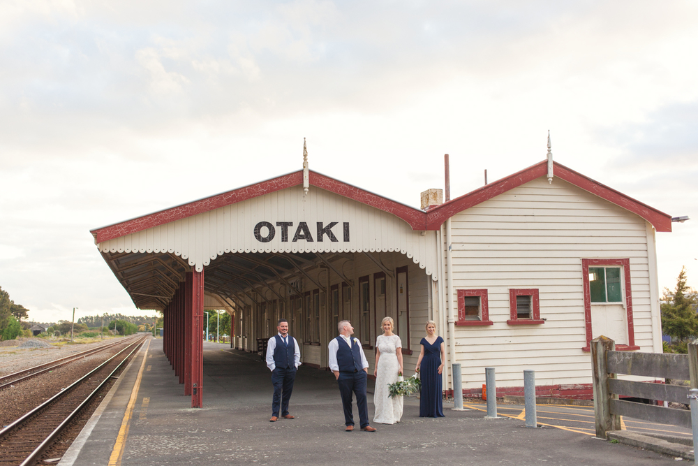 Wedding photos at Otaki Railway Station