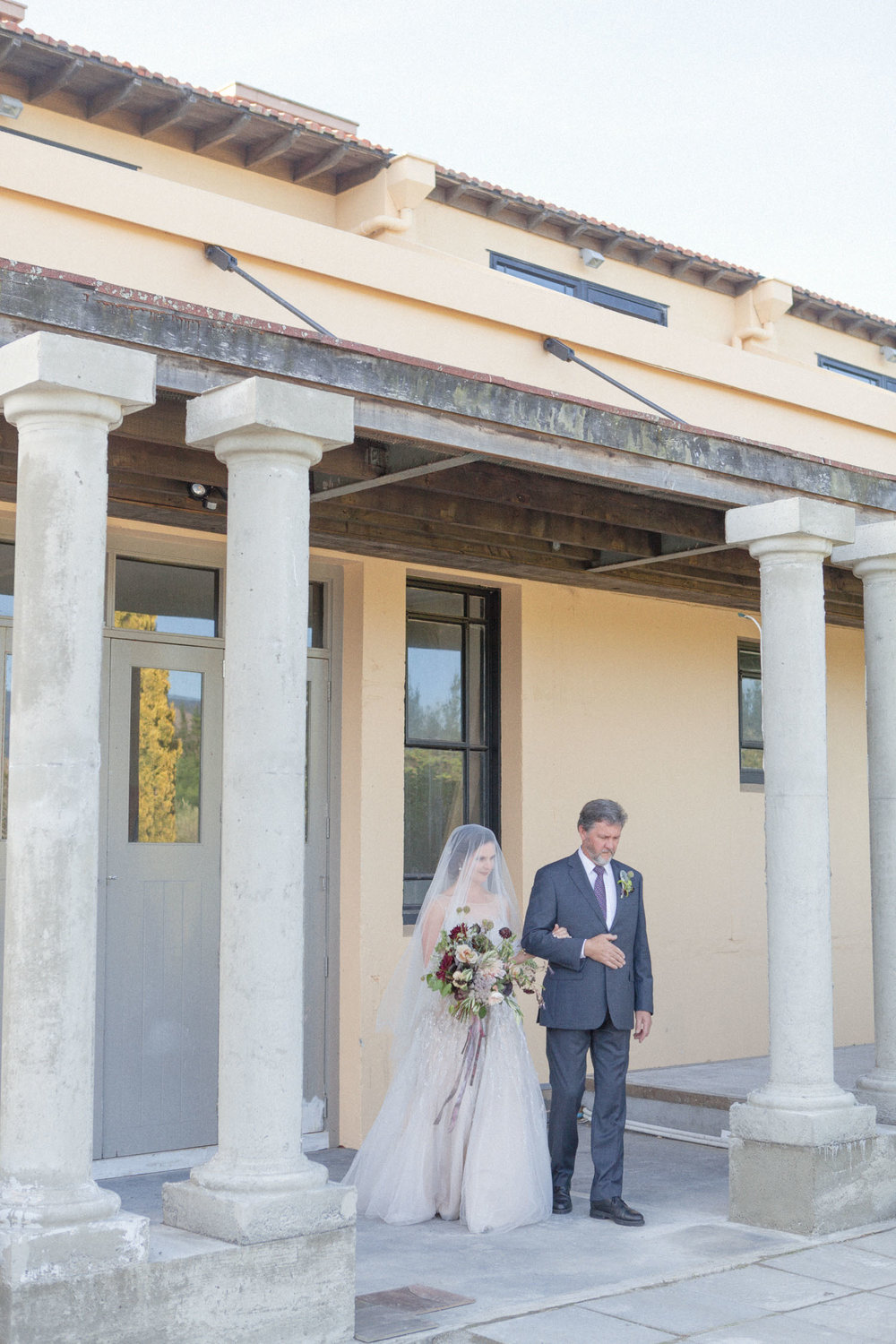 Father walking bride down wedding aisle at The Milk Station wedding venue