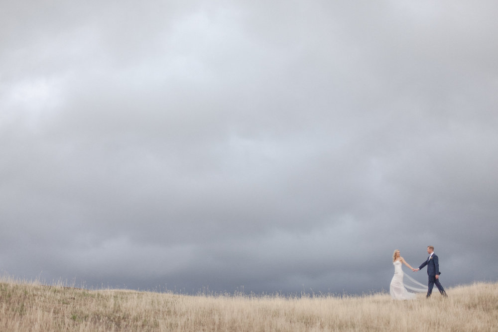 Bride and Groom walking through long grass in wedding photos