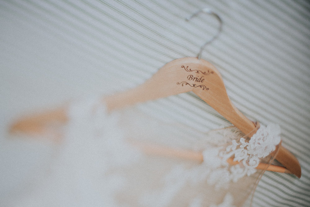 Personalised coat hanger for Bride's wedding dress