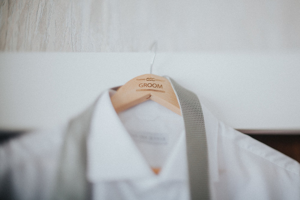 Personalised coat hanger for Groom's suit