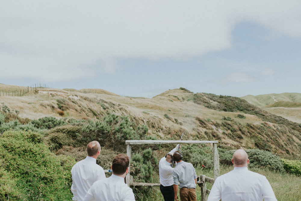 Claybird shooting at Wellington wedding venue Boomrock