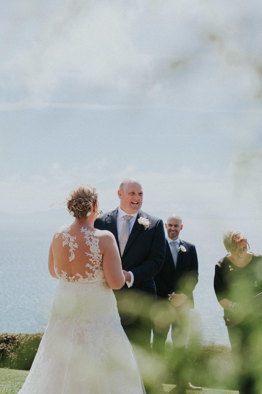 Bride and Groom exchanging wedding vows at Boomrock wedding venue Wellington