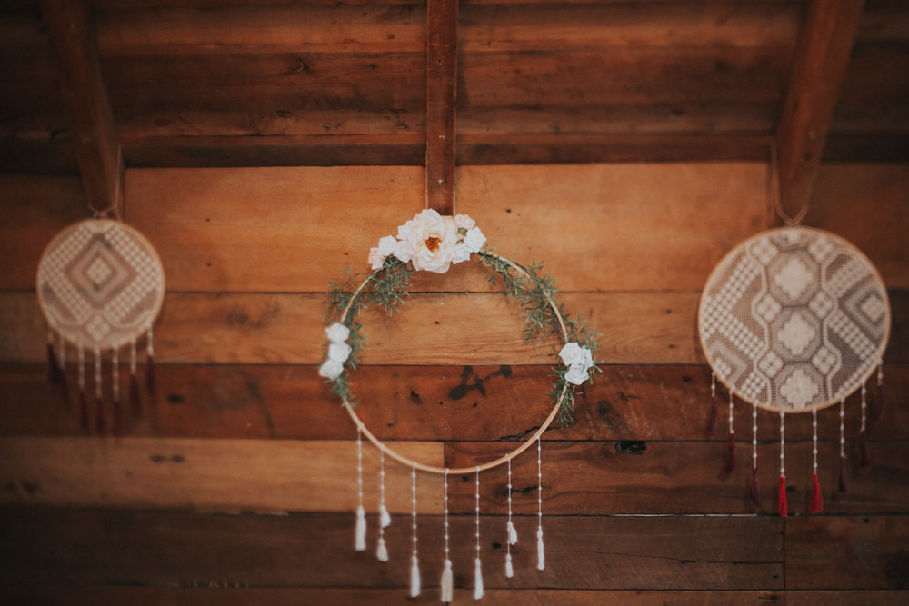 Hand made dream catcher for wedding reception decor