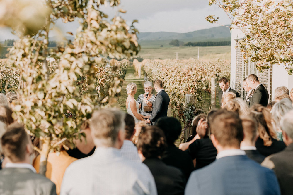 Wedding ceremony at Poppies Martinborough