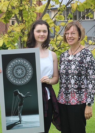 Kira with Visual art teacher ms Maggie savage