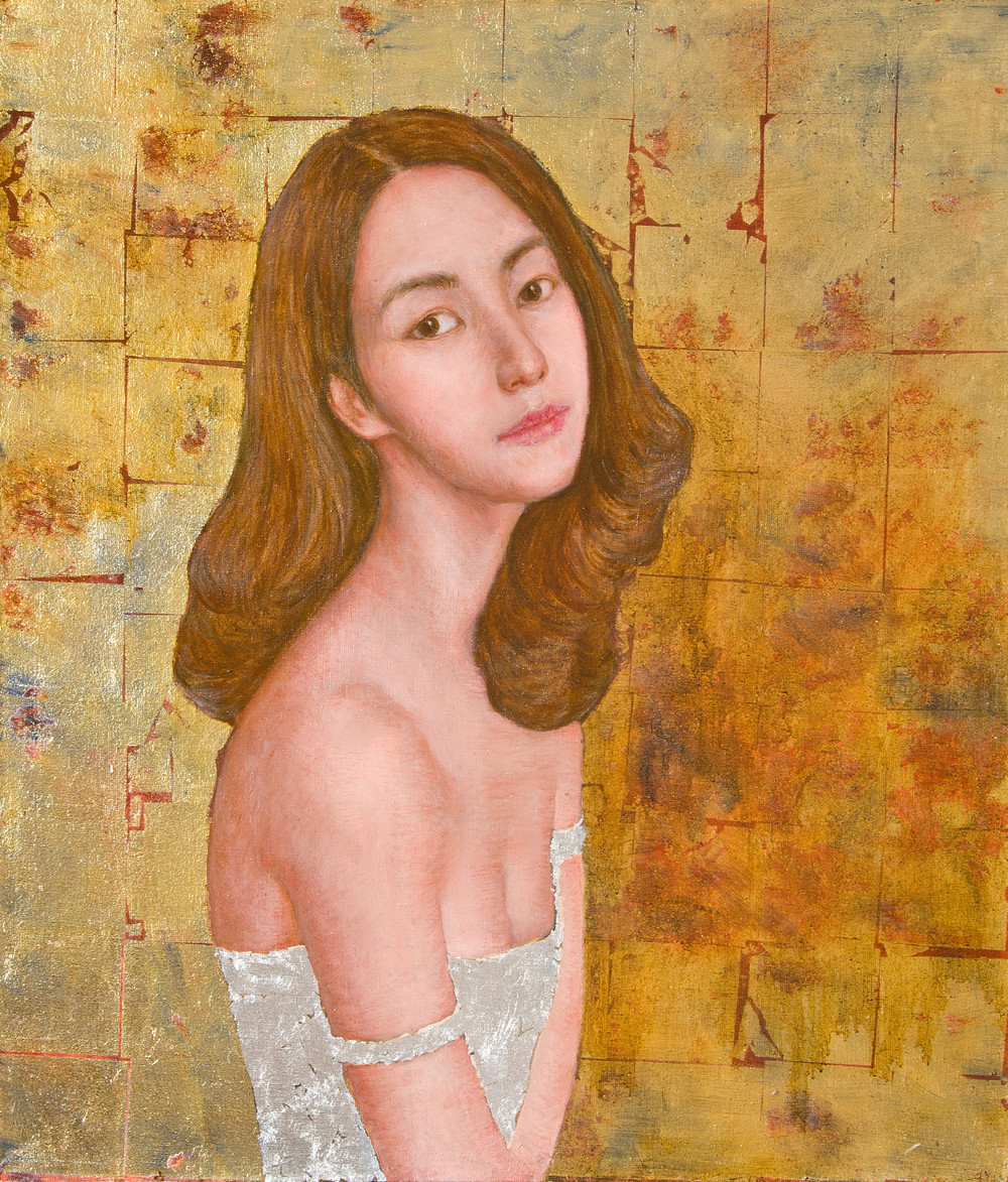 'Hope'  oil on linen, gold leaf, silver leaf year: 2011 size: 1000 x 700mm