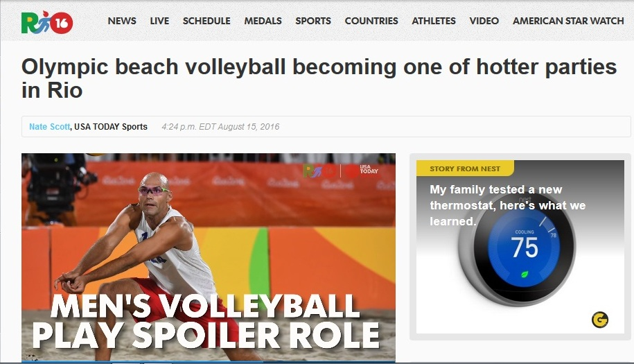 Olympic beach volleyball becoming one of the hotter parties in Rio - USA Today | August 14, 2016