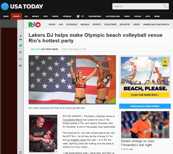 Lakers DJ helps make Olympic beach volleyball venue Rio's hottest party - USA Today | August 17, 2016