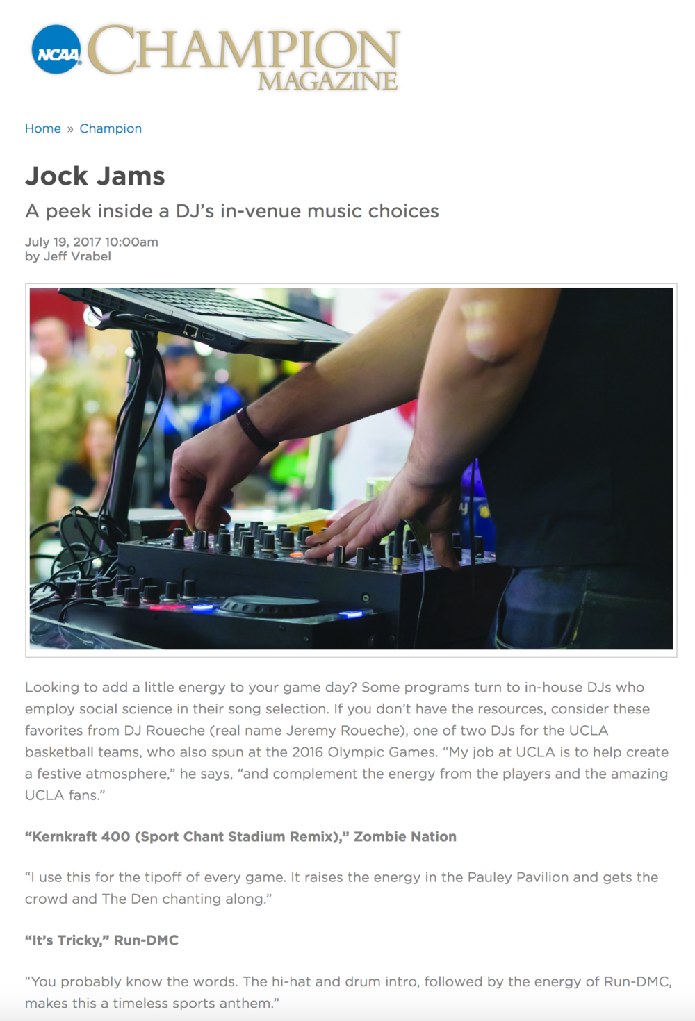 A peek inside a DJ's in-venue music choices - NCAA Champion Magazine | July 19, 2017