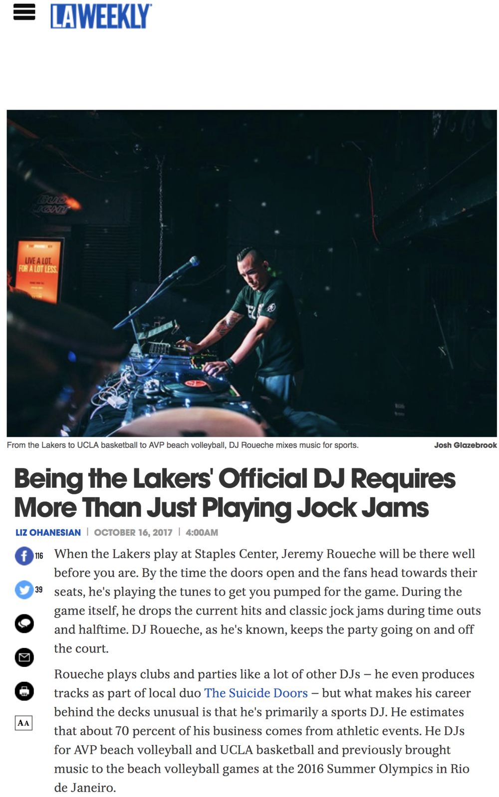 Being the Lakers' Official DJ Requires More Than Just Playing Jock Jams - LA Weekly | October 16, 2017