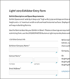 Exhibitor Entry FormUse this form to describe your Exhibit in Detail. Photos or drawings are required for all display structures and can be uploaded on this page. -