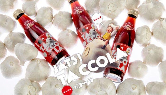 Läsk med vitlök från Takko i Aomori - Taccola. Säljer bra - återkommer med smakintryck när vi hittar produkten i butikshyllorna.