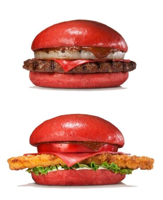 Röda burgare på Burger King Japan nu i juli/augusti. Foto: Burger King Japan