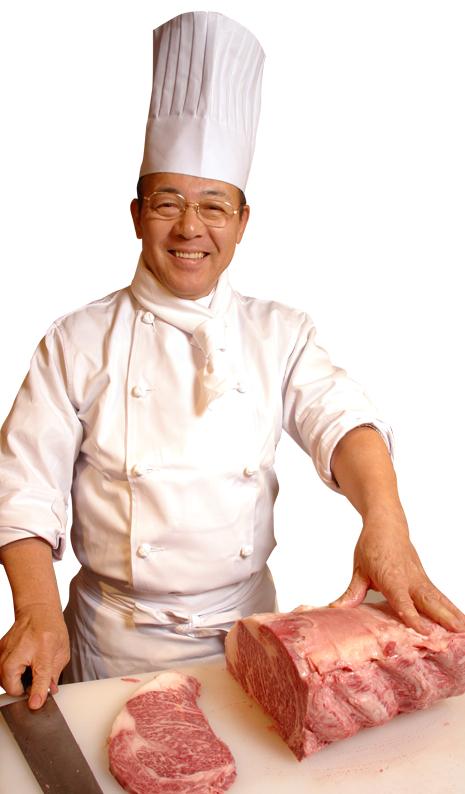Grundaren Kunio Ochinose med en präktig japansk köttbit.  Foto: Ikinari Steak