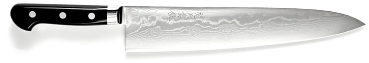 En japansk damascus-kniv från en erkänd tillverkare kan se ut så här.
