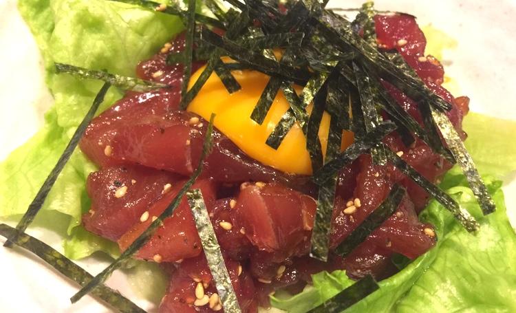 Råbiff på japansk/koreanska - yukke på tonfisk -  maguro .