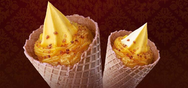 Det är inte så konstigt som det låter med sötpotatis i sötsaker - den används ofta i japanska konditorivaror. Här som mjukglass från Mini-Stop.  Foto: Mini-Stop