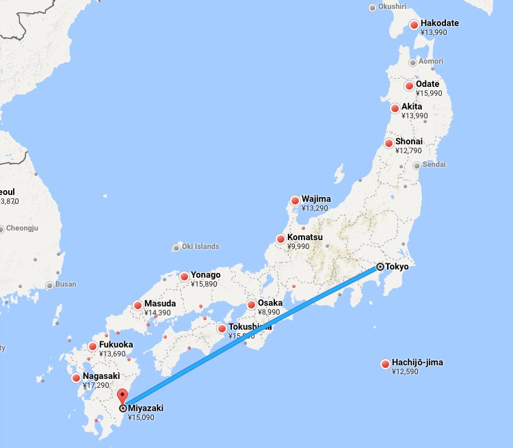 Flygrutten mellan Tokyo och Miyazaki. Knappt två timmar och en dryg svensk tusenlapp enkel resa.