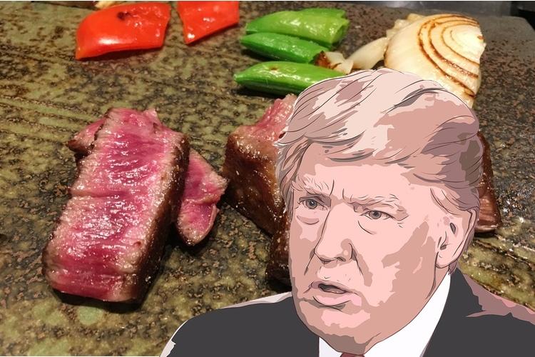 """Kobe-biff av högsta klass (A5-12) på Kawamura. Trump säger """"Nej, nej!! Köttet är ju rått! Låt det ligga på hällen tills det är brunbränt hela vägen!!""""  Bild: Public Domain"""