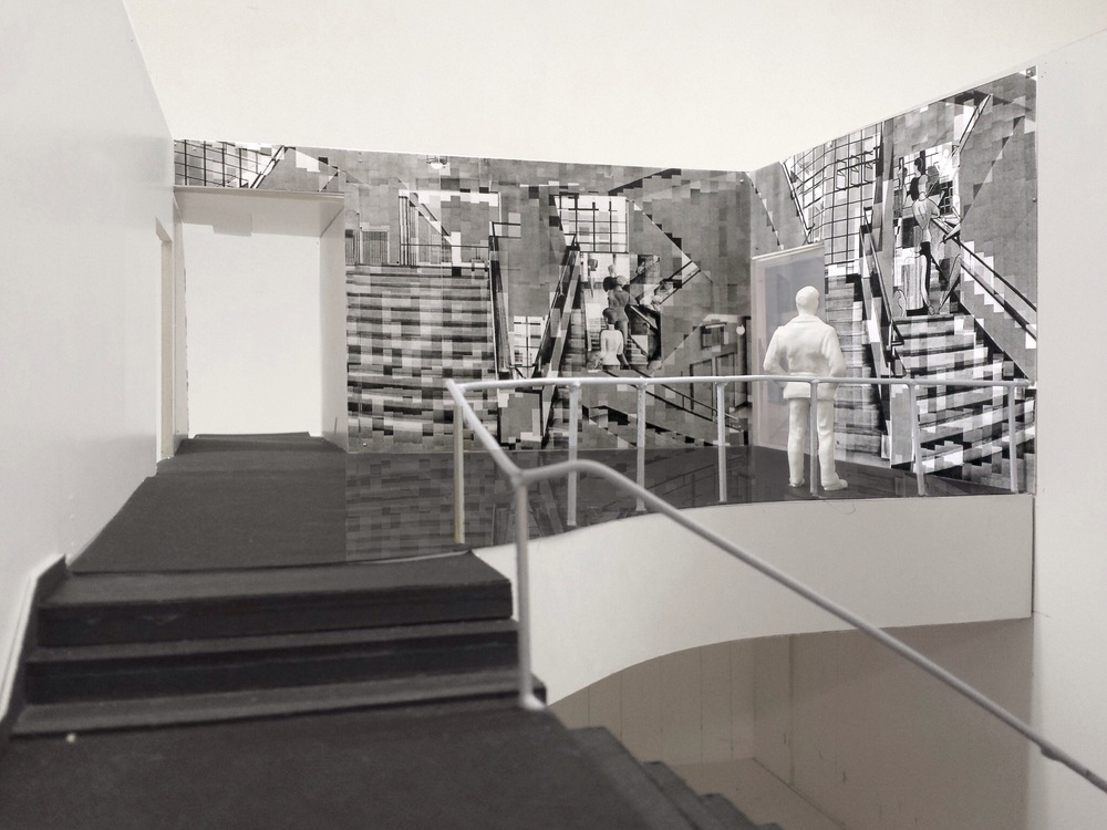 Katharina Gaenssler (German, born 1974).  Model for Bauhaus Staircase.  2015. Site-specific photo installation (work in progress). Laser prints and wall paper paste, 12′ 5″ × 32″ (378.5 × 975.4 cm). Installation commissioned by The Museum of Modern Art, New York. © Katharina Gaenssler and Barbara Gross Gallery, Munich, Germany