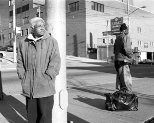 LaToya Ruby Frazier, G randma Ruby and U.P.M.C Braddock Hospital on Braddock Avenue , 2007. Gelatin silver photograph, 20 x 25 in. Courtesy of the artist   © LaToya Ruby Frazier.